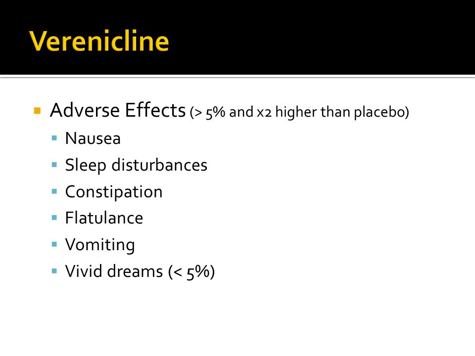 Verenicline Adverse Effects (> 5% and x2 higher than placebo)