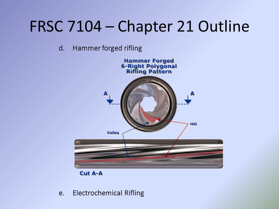 FRSC 7104 – Chapter 21 Outline Hammer forged rifling