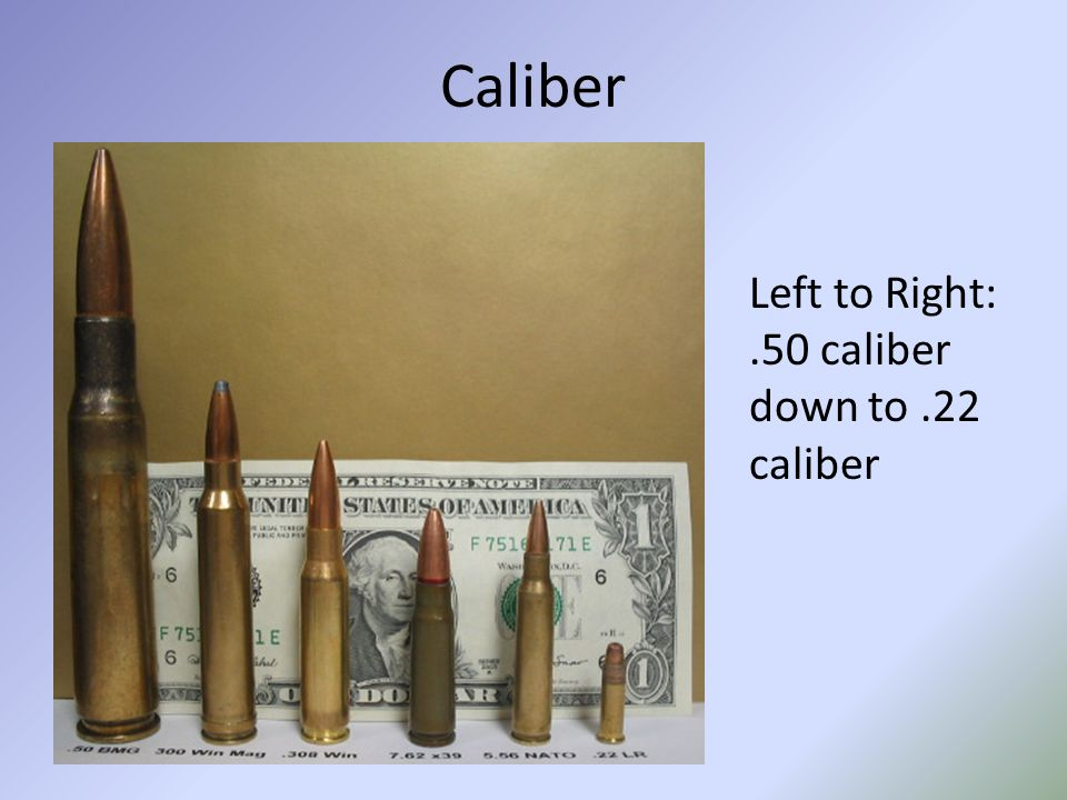Caliber Left to Right: .50 caliber down to .22 caliber