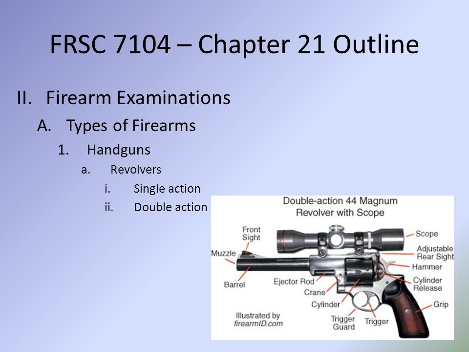 FRSC 7104 – Chapter 21 Outline Firearm Examinations Types of Firearms