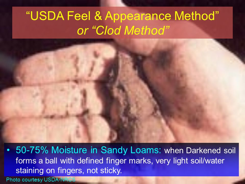 USDA Feel & Appearance Method or Clod Method