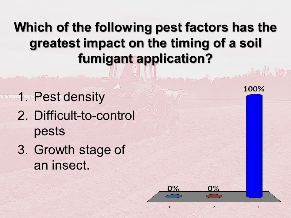 Which of the following pest factors has the greatest impact on the timing of a soil fumigant application