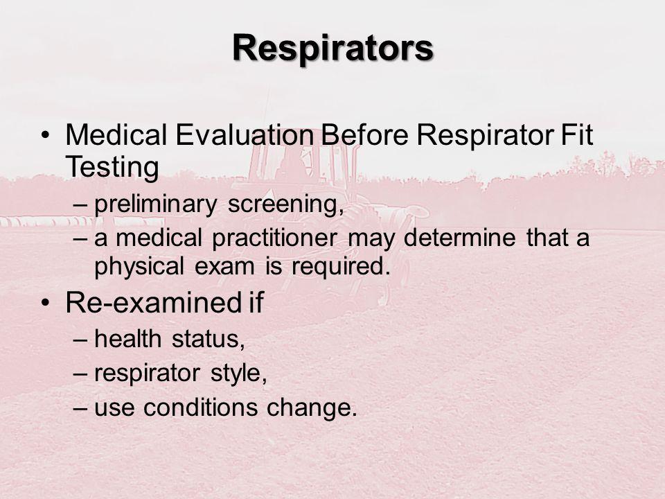 Respirators Medical Evaluation Before Respirator Fit Testing