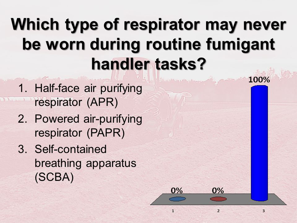 Which type of respirator may never be worn during routine fumigant handler tasks