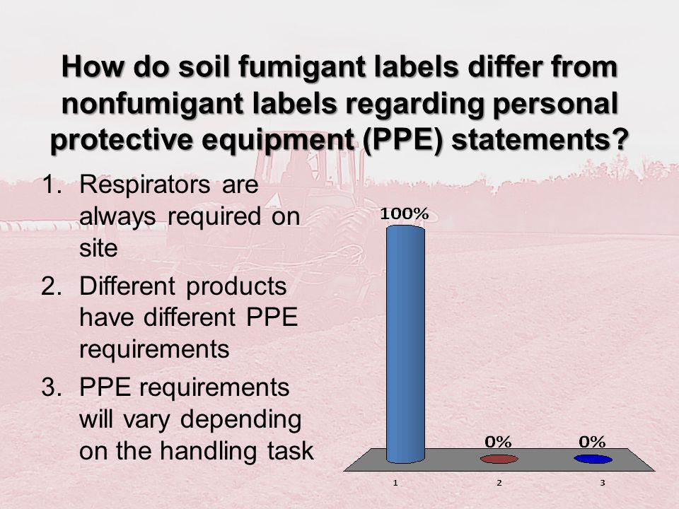 How do soil fumigant labels differ from nonfumigant labels regarding personal protective equipment (PPE) statements