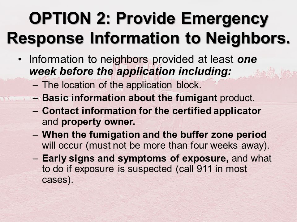 OPTION 2: Provide Emergency Response Information to Neighbors.