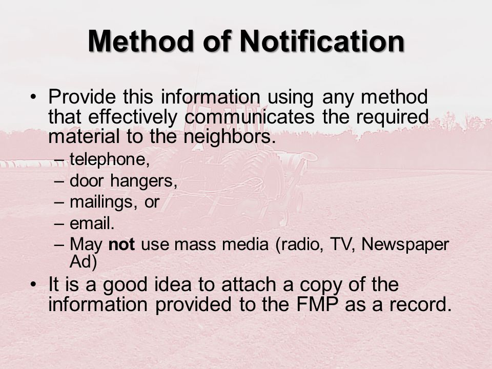 Method of Notification