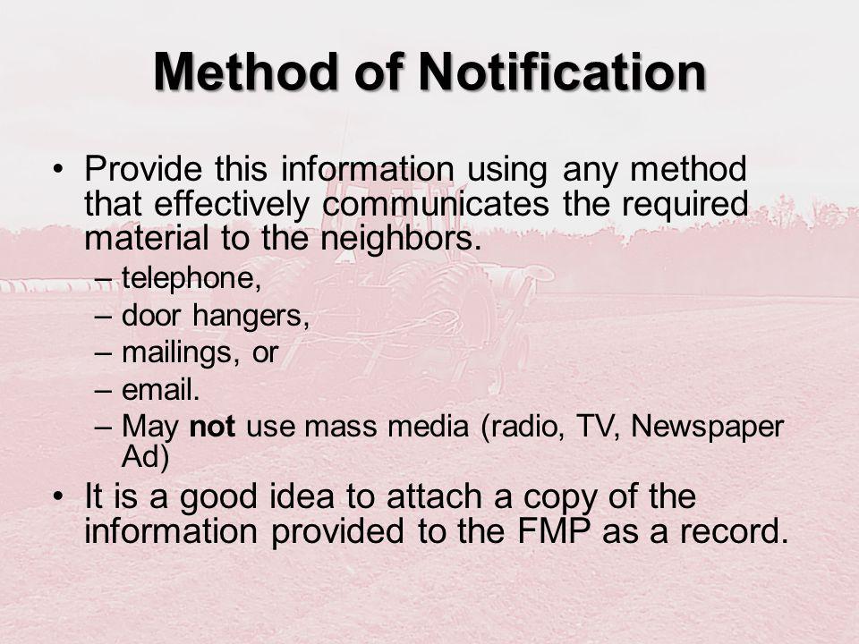 Method of Notification