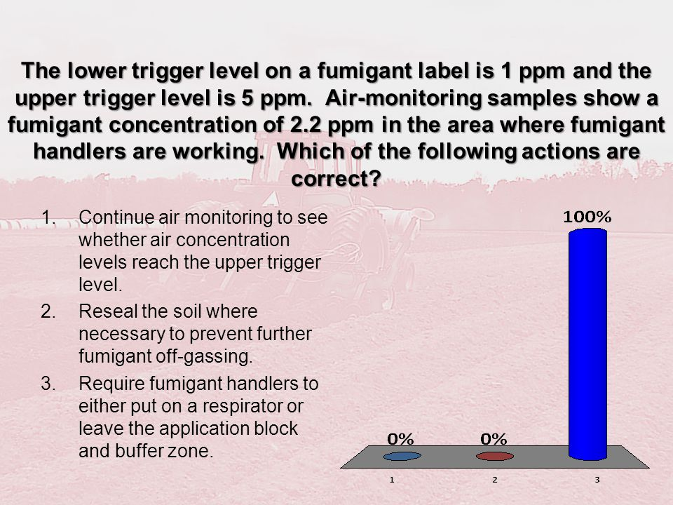 The lower trigger level on a fumigant label is 1 ppm and the upper trigger level is 5 ppm. Air-monitoring samples show a fumigant concentration of 2.2 ppm in the area where fumigant handlers are working. Which of the following actions are correct