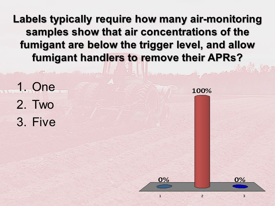 Labels typically require how many air-monitoring samples show that air concentrations of the fumigant are below the trigger level, and allow fumigant handlers to remove their APRs