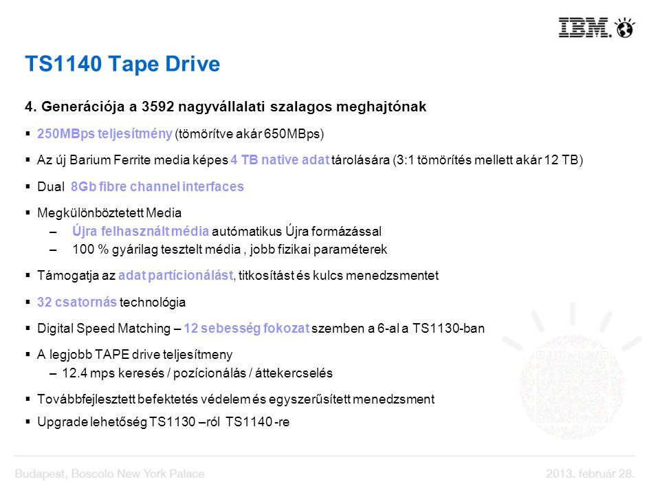 TS1140 Tape Drive 4. Generációja a 3592 nagyvállalati szalagos meghajtónak. 250MBps teljesítmény (tömörítve akár 650MBps)