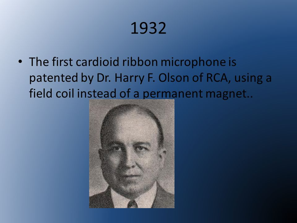 1932 The first cardioid ribbon microphone is patented by Dr.