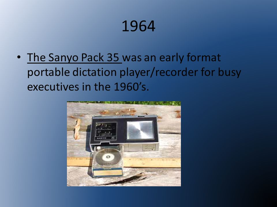1964 The Sanyo Pack 35 was an early format portable dictation player/recorder for busy executives in the 1960's.