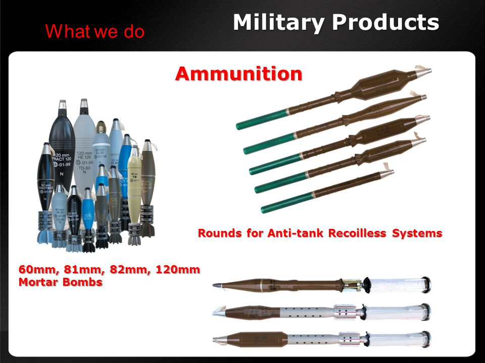 Military Products What we do Ammunition