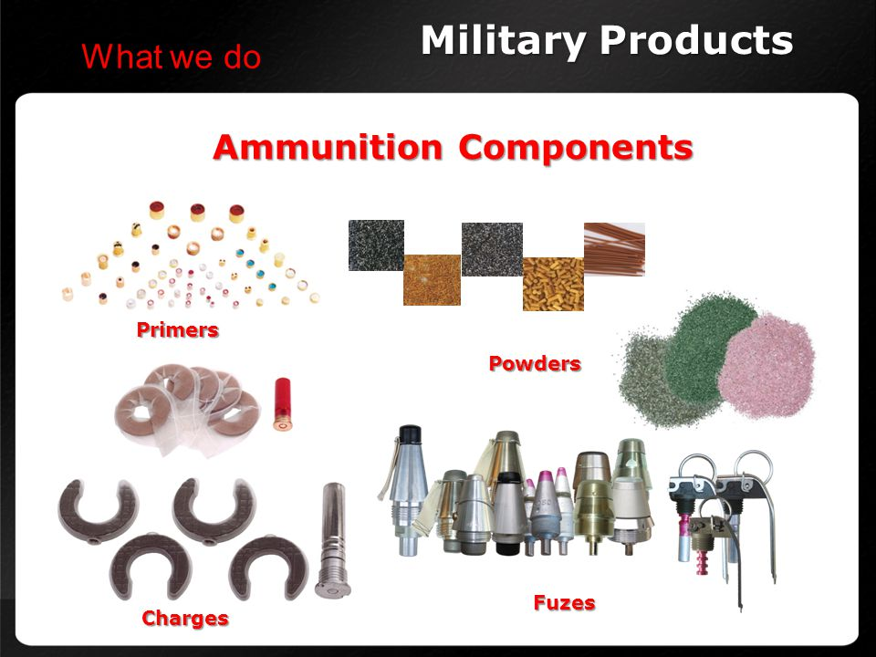 Military Products What we do Ammunition Components Primers Powders
