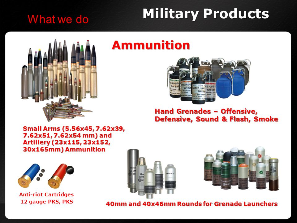 Military Products What we do Ammunition Hand Grenades – Offensive,