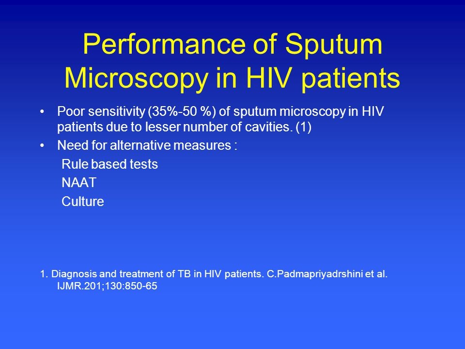 Performance of Sputum Microscopy in HIV patients