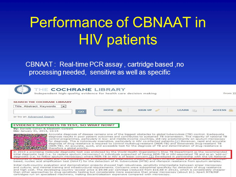 Performance of CBNAAT in HIV patients