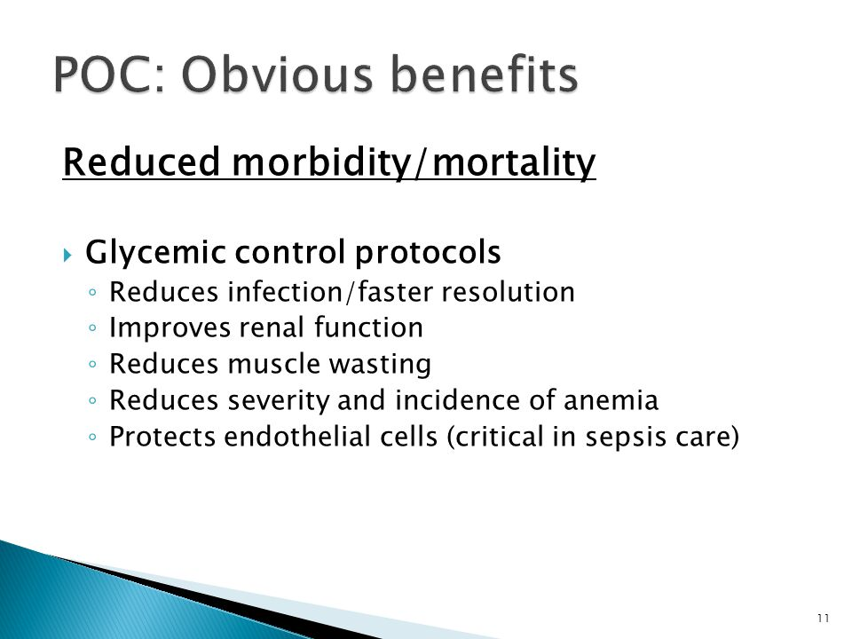 POC: Obvious benefits Reduced morbidity/mortality