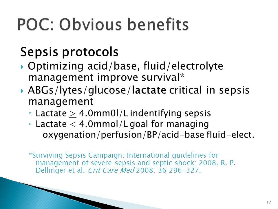POC: Obvious benefits Sepsis protocols