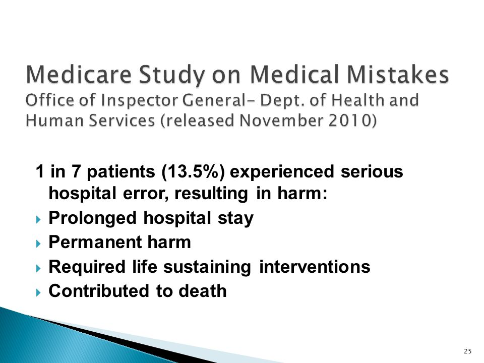 Medicare Study on Medical Mistakes Office of Inspector General- Dept