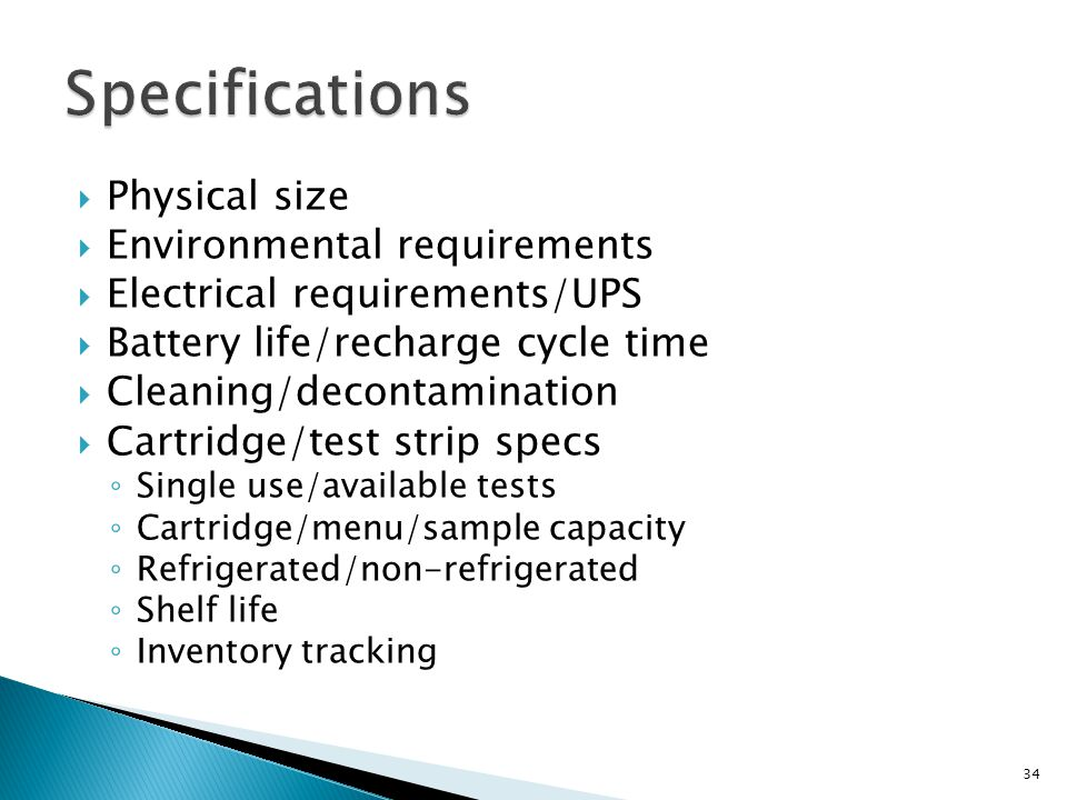 Specifications Physical size Environmental requirements