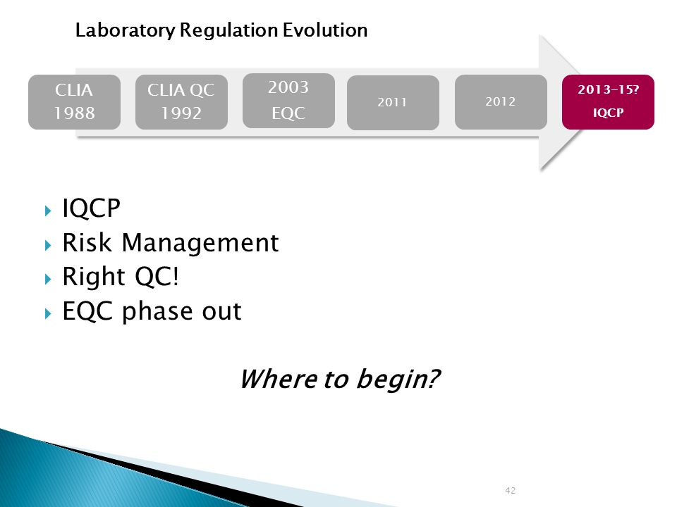 IQCP Risk Management Right QC! EQC phase out Where to begin