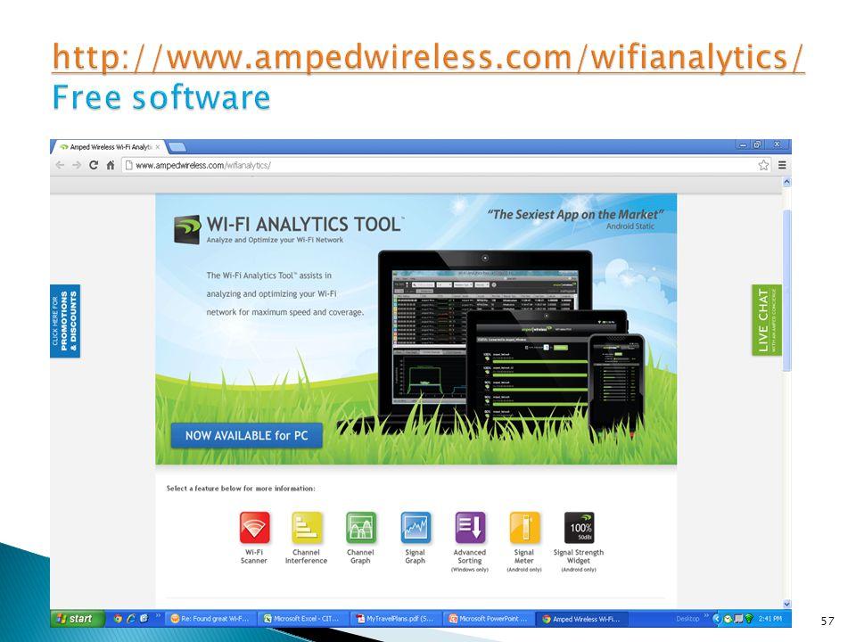 http://www.ampedwireless.com/wifianalytics/ Free software