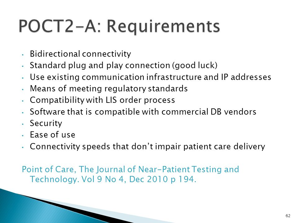POCT2-A: Requirements Bidirectional connectivity