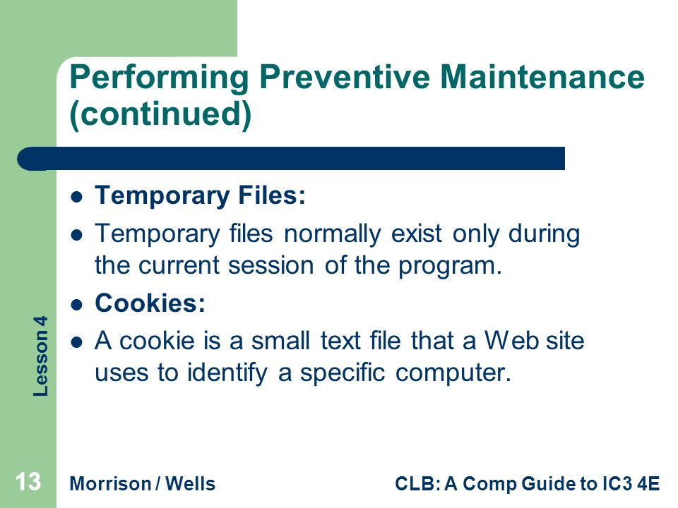 Performing Preventive Maintenance (continued)