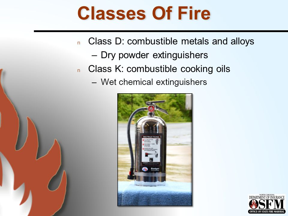 Classes Of Fire Class D: combustible metals and alloys