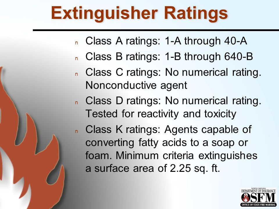 Extinguisher Ratings Class A ratings: 1-A through 40-A