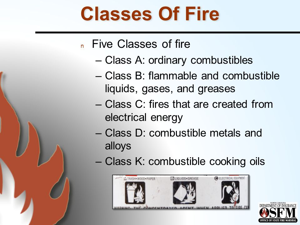 Classes Of Fire Five Classes of fire Class A: ordinary combustibles
