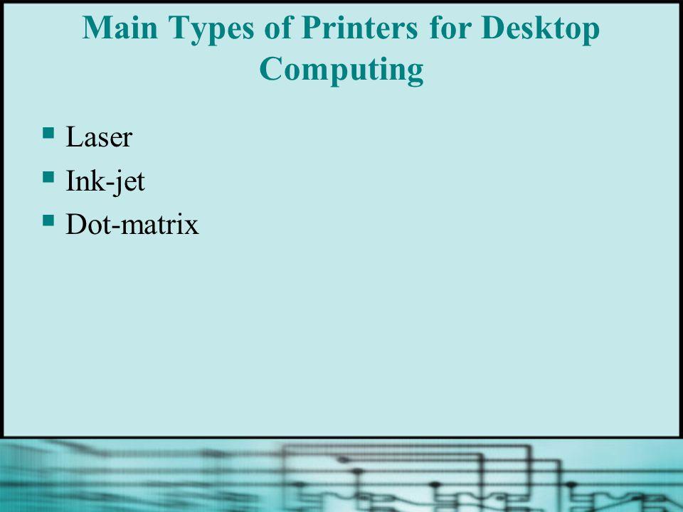 Main Types of Printers for Desktop Computing