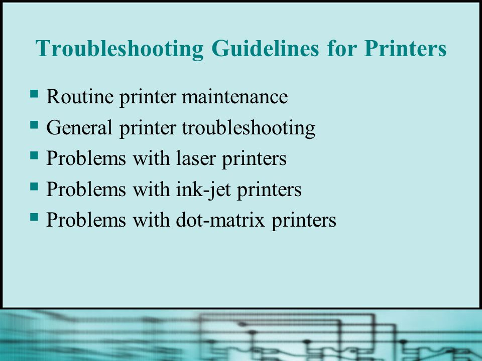 Troubleshooting Guidelines for Printers