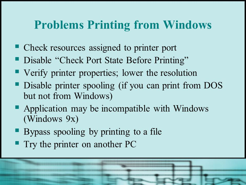 Problems Printing from Windows