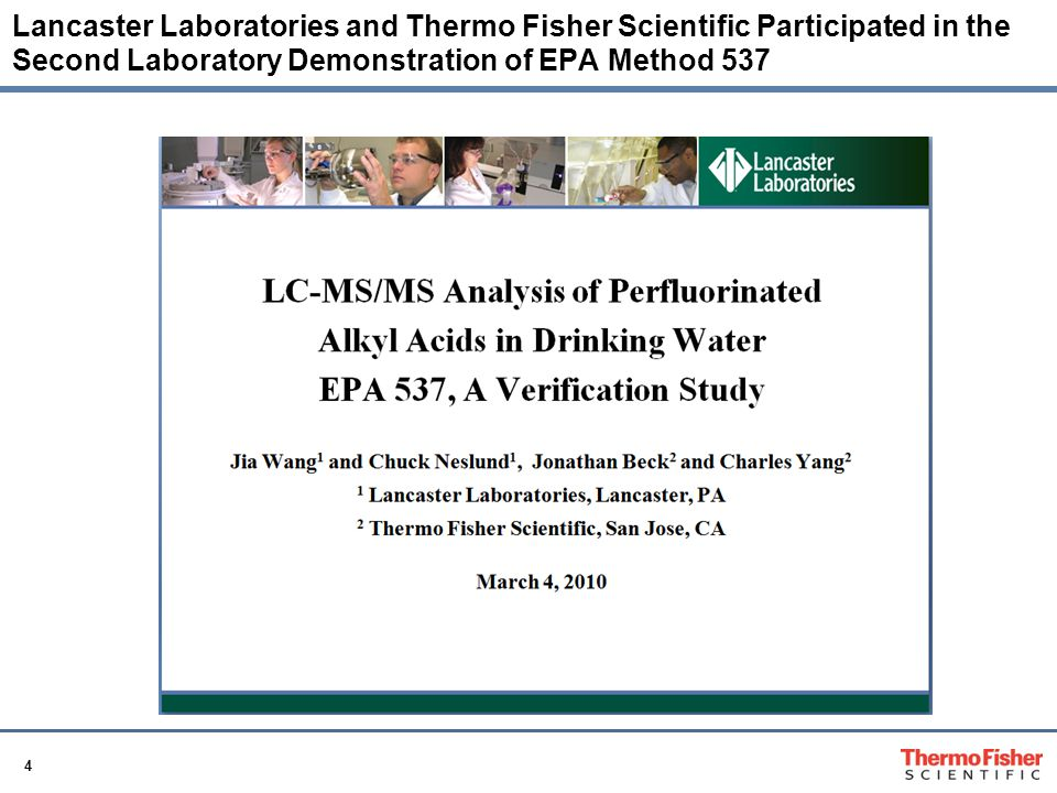 Lancaster Laboratories and Thermo Fisher Scientific Participated in the Second Laboratory Demonstration of EPA Method 537