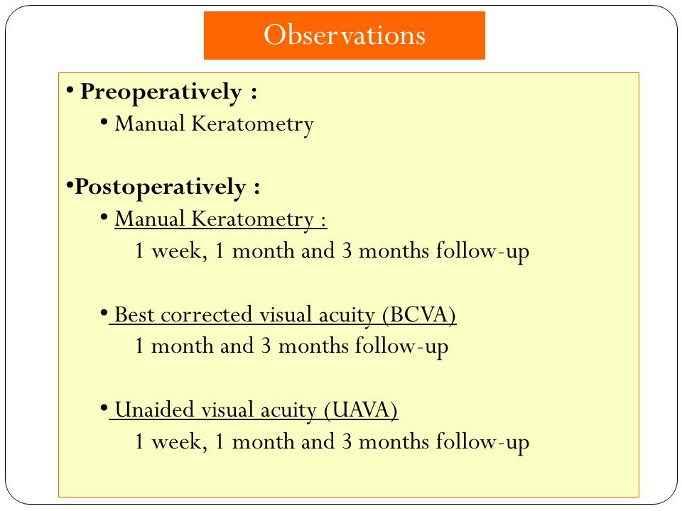 Observations Preoperatively : Manual Keratometry Postoperatively :