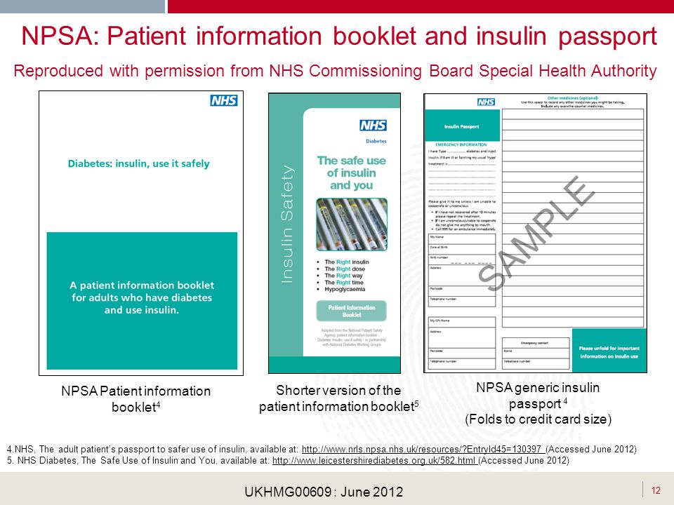 NPSA: Patient information booklet and insulin passport