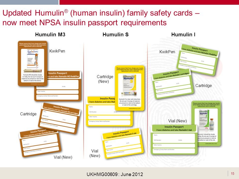 Updated Humulin® (human insulin) family safety cards – now meet NPSA insulin passport requirements