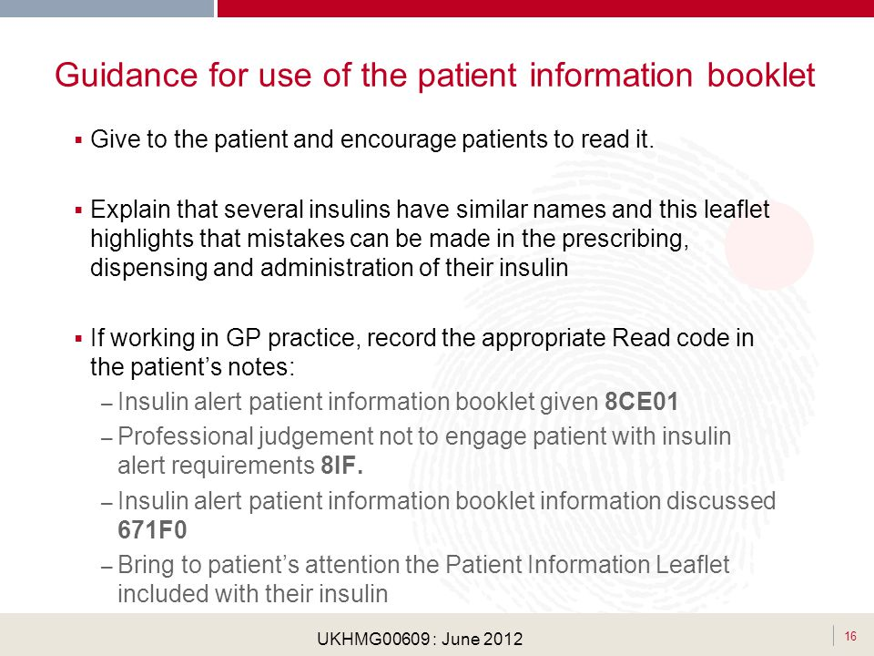 Guidance for use of the patient information booklet