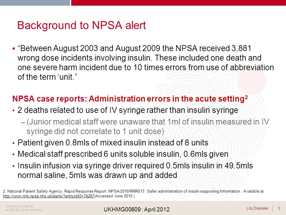 Background to NPSA alert