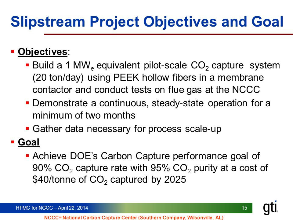 Slipstream Project Objectives and Goal