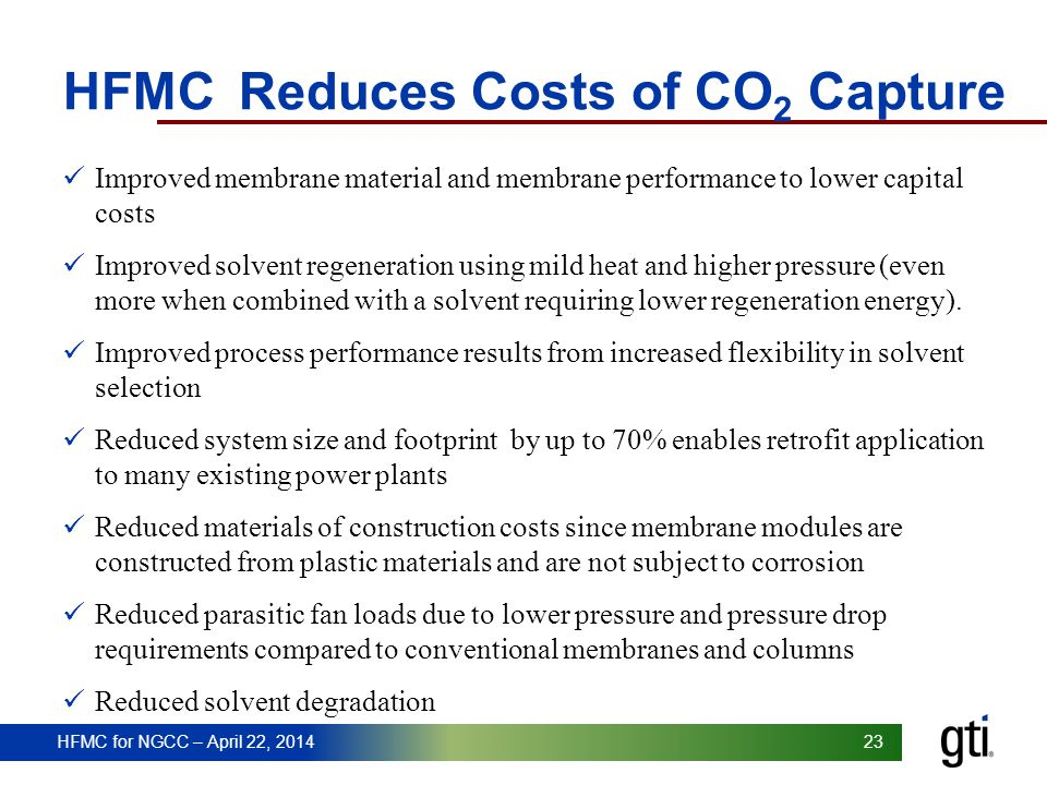 HFMC Reduces Costs of CO2 Capture