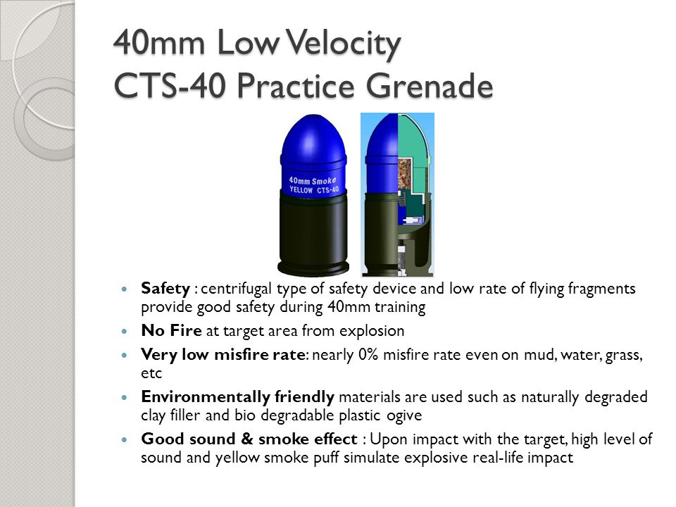 40mm Low Velocity CTS-40 Practice Grenade