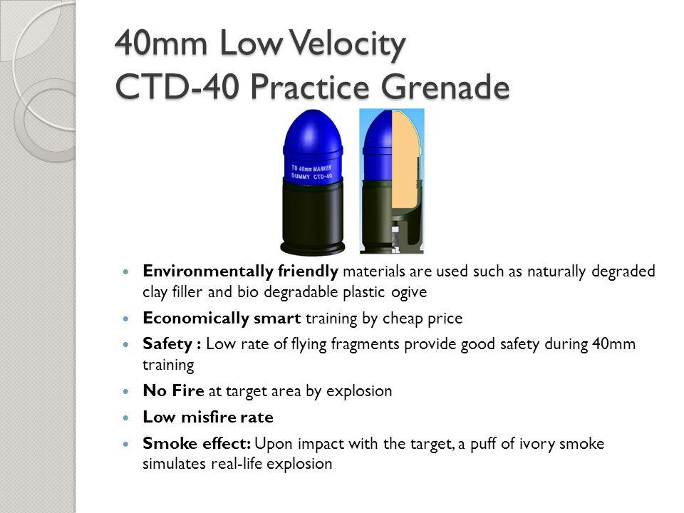 40mm Low Velocity CTD-40 Practice Grenade