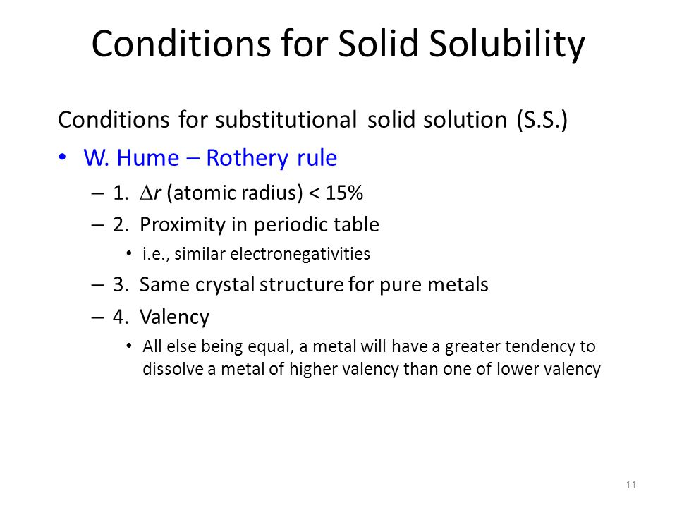 Conditions for Solid Solubility