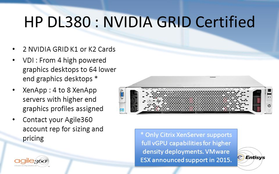 HP DL380 : NVIDIA GRID Certified