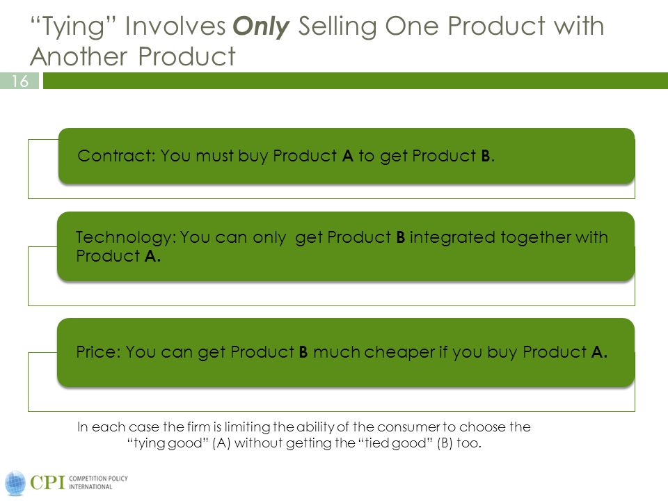 Tying Involves Only Selling One Product with Another Product