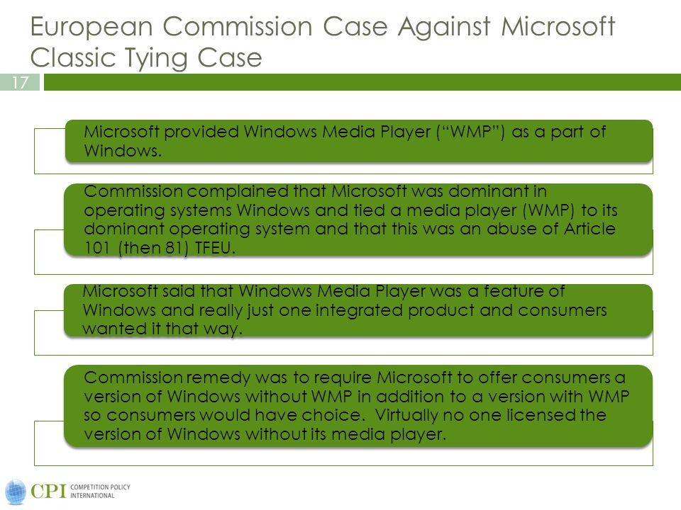 European Commission Case Against Microsoft Classic Tying Case